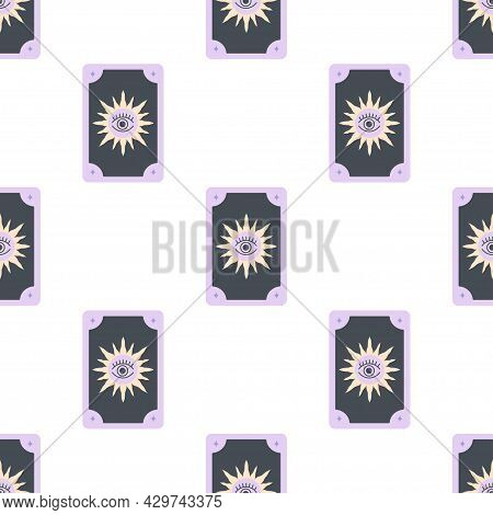 Occult Card Seamless Pattern, Fortune Telling On Tarot Cards, Prediction, Witch, Sun With Black Eye,