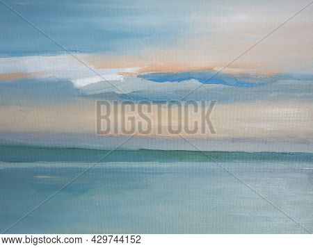 Sea Lagoon. Peaceful And Beautiful Seascape. Oil Painting Water And Tropical Theme. Travel And Recre