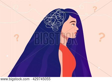 Depressed Female Character With Messy Thought Lines Inside Her Head. Frustrated And Confused. Concep