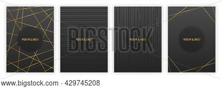 Set Of Modern Black Cover Designs. Luxury Creative Line Pattern In Black And Gold Colors. Concept Of