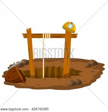 Mine. Hole In Ground, Rocks, Pickaxe, Miner's Helmet. Extraction Of Minerals. Industrial Concept. Ol