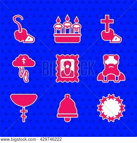 Set Christian Icon, Church Bell, Crown Of Thorns, Priest, Cross Chain, Gods Helping Hand, And Magic