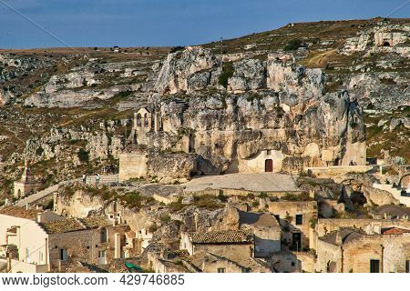 Sassi Districts Of Matera Italy. Ancient Town In Basilicata Region. Unesco World Heritage Site.