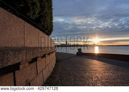 Spit Of Vasilyevsky Island. View Of The Peter And Paul Fortress. St. Petersburg. Neva River.