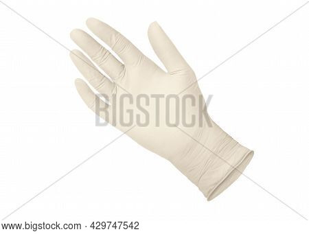 Medical Gloves.two White Surgical Gloves Isolated On White Background With Hands. Rubber Glove Manuf