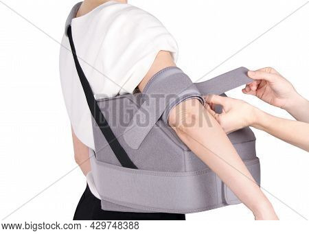 Shoulder Joint Brace. Orthopedic Arm Elbow Stabilizer With Abduction Pad. Bandage On The Shoulder Jo