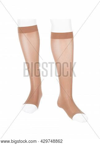 Medical Compression Stockings For Varicose Veins And Venouse Therapy. Compression Hosiery.  Sock For
