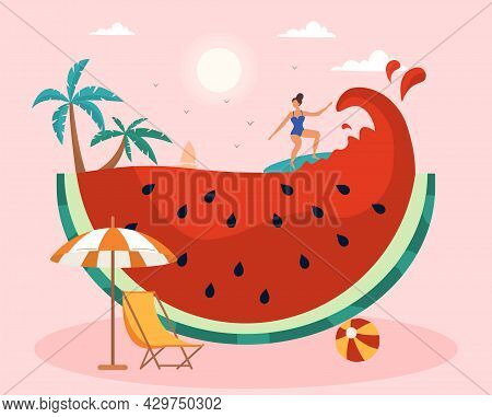 Summer Scene With Female Character Surfing Against The Huge Watermelon Wave. Concept Of Surfing, Swi