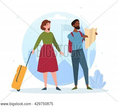 Male And Female Tourists Are Exploring New Places With Luggage. Concept Of Summer Tourist Characters