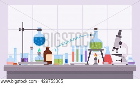Flat Science Laboratory Experiment With Glass Beakers And Flask. Pharmaceutical Research Equipment O