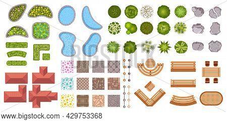Garden Landscape Design Elements Aerial Top View. Bush Fence, Flowers, Ponds, Houses And Sidewalk Ic
