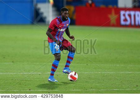 Barcelona, Spain. 08th August 2021 . Samuel Umtiti Of Fc Barcelona  During The Pre-season Friendly M