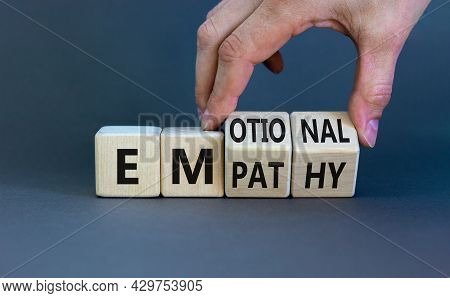Emotional Empathy Symbol. Doctor Turns Wooden Cubes And Changes The Word 'emotional' To 'empathy'. B