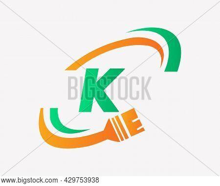 Paint Logo With K Letter Concept. K Letter House Painting Logo Design