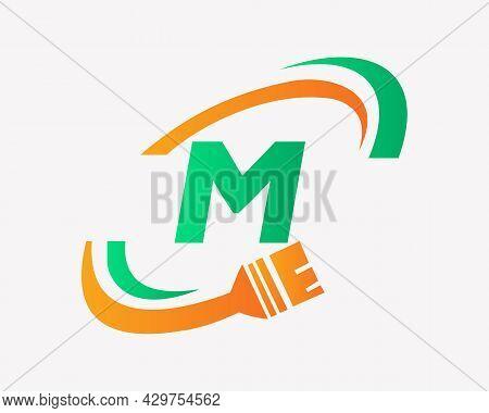 Paint Logo With M Letter Concept. M Letter House Painting Logo Design