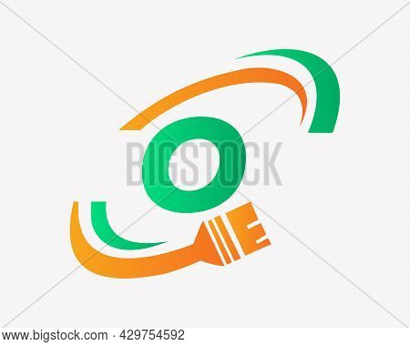 Paint Logo With O Letter Concept. O Letter House Painting Logo Design