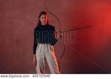 Archer Woman With Sport Bow And Arrow.