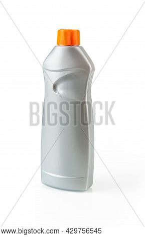 Oven Cleaner In A Gray Bottle Isolated On White Background. Household Gel Detergent For Cleaning Gri