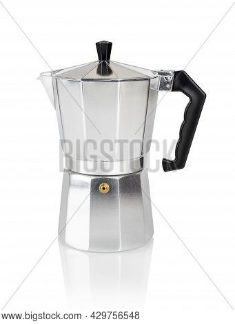 Geyser Coffee Maker Isolated On White Background. Traditional Italian Moka Pot For Brewing A Strong