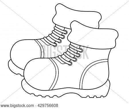 Pair Of Warm Winter Boots - Vector Linear Picture For Logo Or Coloring. Outline. Boots - With Laces