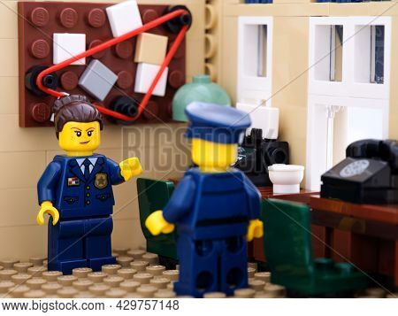 Tambov, Russian Federation - August 02, 2021 Two Lego Police Officers Standing In Their Police Stati