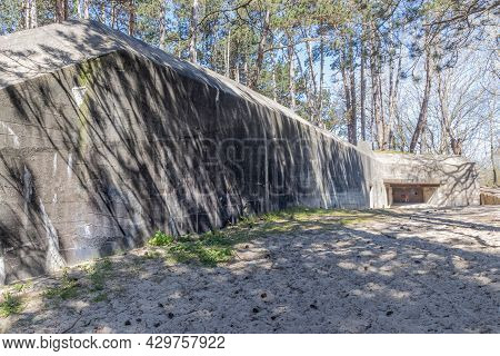 Wall Of An Abandoned Bunker From Wwii, Named Walvisbunker Because Of Its Whale Shape, Part Of The At