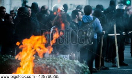 ATHENS, GREECE - APRIL 16, 2015: Protesters during a protest in front of Athens University, which is under occupation by protesters leftist and anarchist groups.
