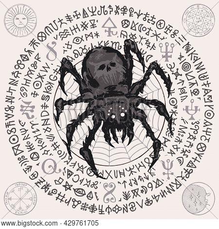 A Hand-drawn Illustration With A Big Predatory Scary Black Spider On A Cobweb Background And Unreada