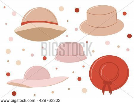A Set Of Womens Hats, An Item Of Clothing Or An Accessory, A Collection Of Cute Hats, A Summer Acces