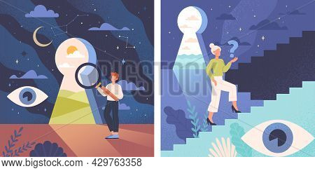 Young Male And Female Characters Are Standing Confused Near Keyhole. Concept Of Self Discovery And C