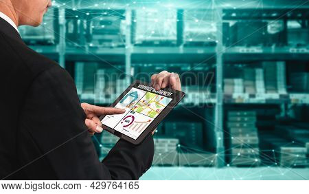 Warehouse Management Innovative Software In Computer For Real Time Monitoring Of Goods Package Deliv