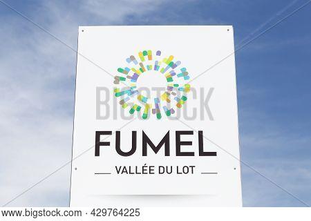 Fumel, France - June 25, 2021: Fumel City Logo On A Panel. Fumel Is A Commune In The Lot-et-garonne