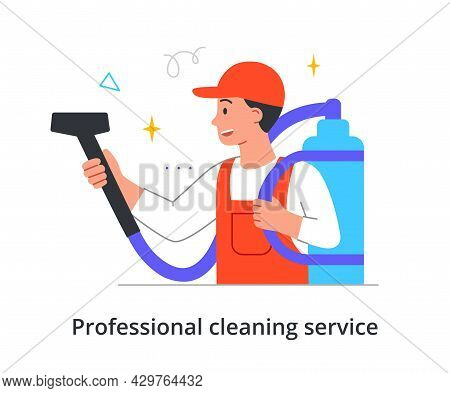 Smiling Male Cleaning Company Member In Overall Is Vacuum Cleaning Place On White Background. Concep