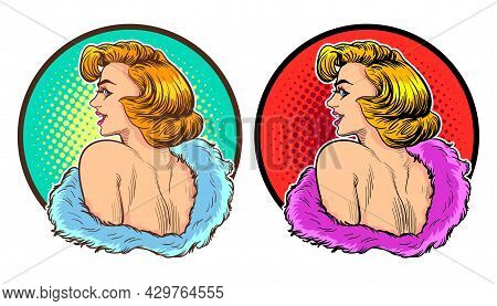 Elegance Sexy Woman Face Look Back,woman Looking Back Over Shoulder. Pop Art Retro Vector Illustrati