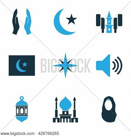 Holiday Icons Colored Set With Qiblah, Headscarf, Mosque And Other Bullhorn Elements. Isolated Vecto