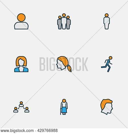 Human Icons Colored Line Set With Profile, Businesswoman, Man Head And Other Group Elements. Isolate