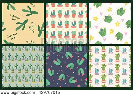 A Set Of Patterns From A Seamless Pattern With Cute Green Cacti With Thorns In Flowerpots.  Plants A
