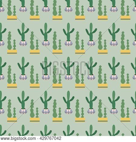Seamless Pattern With Cute Green Cacti With Thorns In Flowerpots.  Plants And Nature, House Plants.