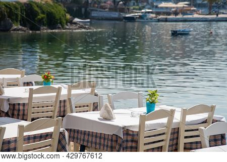Traditional Cretan Food Restaurant Near The Sea At Chalkidiki Area In Greece.