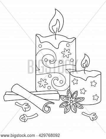 Candles And Spices -aromatherapy -vector Linear Picture Antistress For Coloring. Outline. Scented Ca