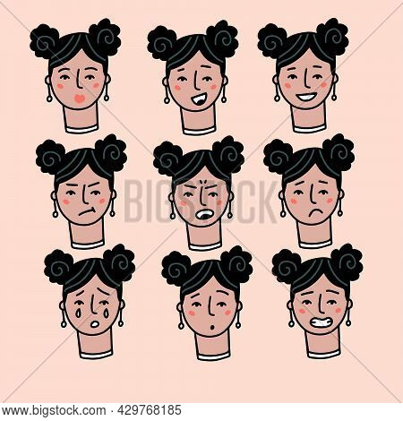 Teenage Woman Portrait With Different Facial Expressions Set Isolated On Beige Background. Young Gir