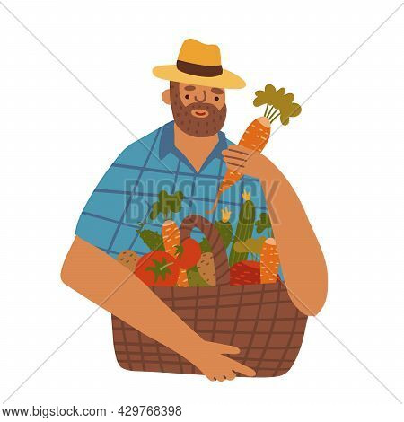 Middle Aged Man-farmer With Beard Wearing Denim And Hat With Basket Of Different Vegetables. Vector