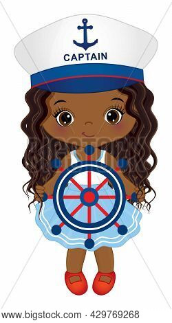 Vector Cute Little African American Girl Wearing Nautical Dress And Captains Cap. Little Black Is Wi
