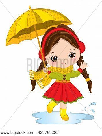 Vector Cute Girl With Umbrella. Vector Little Girl Wearing Rain Coat, Scarf And Headphones. Little G
