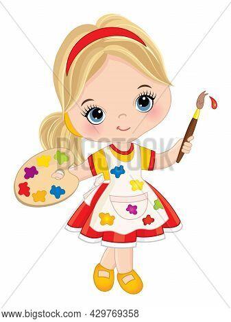 Vector Cute Little Girl Painting. Vector Little Girl Holding Palette And Paint Brush. Beautiful Litt