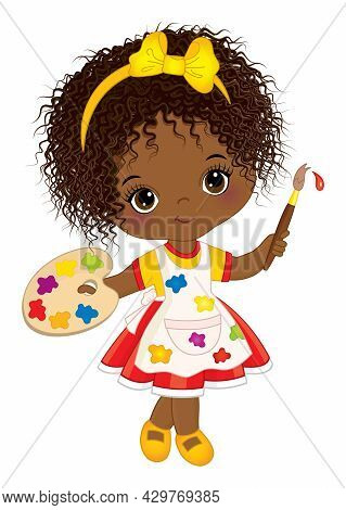 Vector Cute Little African American Girl Painting. Little Black Girl With Palette And Paint Brush. A