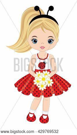 Vector Cute Teen Girl Wearing Polka Dot Dress And Ladybug Antenna Headband. Blond Girl Holding Bouqu