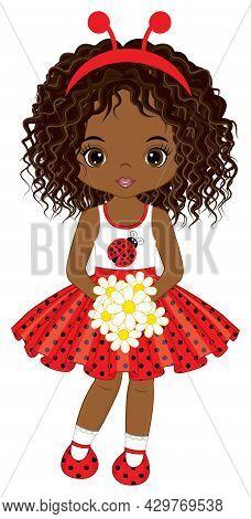 Cute Teen Black Girl Wearing Polka Dot Dress And Ladybug Antenna Headband. Curly African American Gi