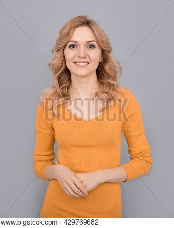 Cheerful Blonde Beauty Woman With Curly Hair, Beauty