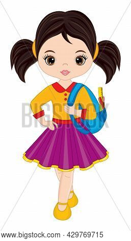 Vector Cute Girl Holding Rucksack With School Accessories. Vector Back To School. Cute Teenager Girl